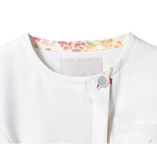 住商モンブラン ローラアシュレイ ナースジャケット レディス 半袖 オフホワイト×アメリピンク M LW802-12 (直送品)