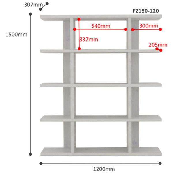 佐藤産業 フィズシェルフ 幅1200×高さ1500mm ホワイト FZ150-120WH 1台 (直送品)