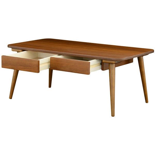 佐藤産業 セレノ引出し付テーブル ブラウン 幅900×奥行500×高さ370mm 1脚 (直送品)