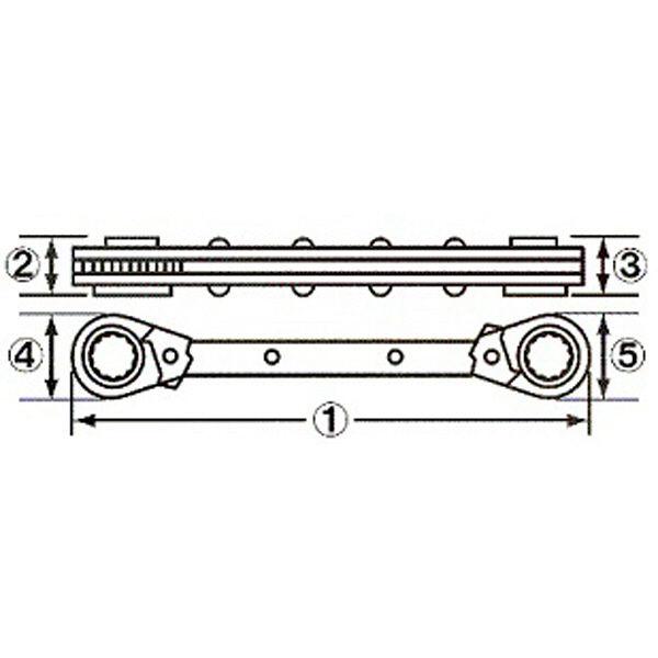 ロブテックス エビ 板ラチェットレンチ SRW558 1本 (直送品)
