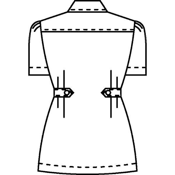 KAZEN レディスジャケット半袖 (ナースジャケット) 医療白衣 ホワイト×プラム LL 084-25 (直送品)