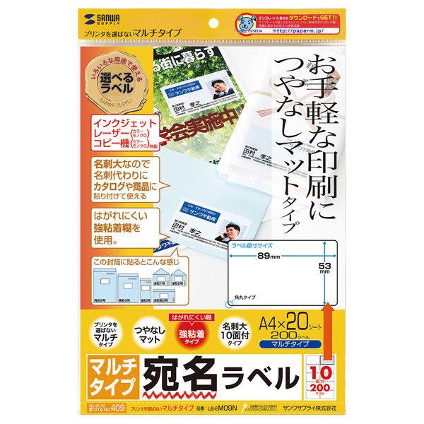サンワサプライ マルチラベル(名刺サイズ) LB-EM09N 1セット(3冊入) (直送品)