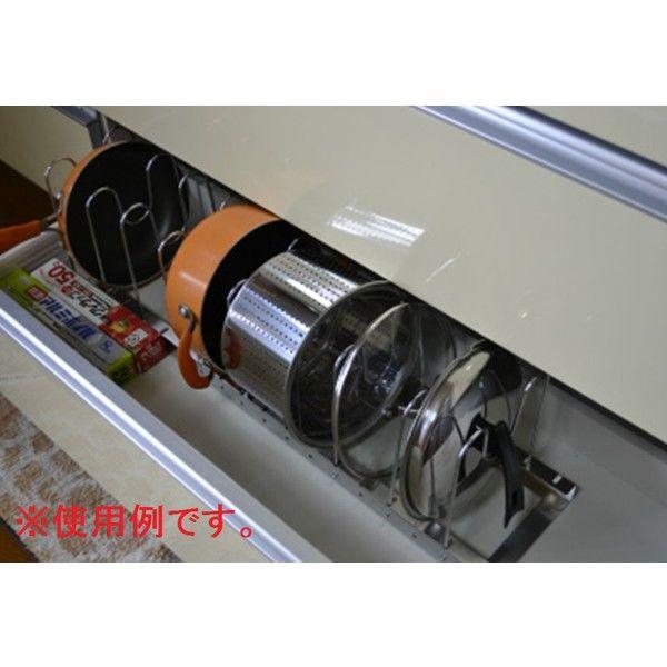 ビーワーススタイル 伸縮式 鍋・フライパンラック 幅440~760×奥行220×高さ200mm シルバー DK-12 1台 (直送品)