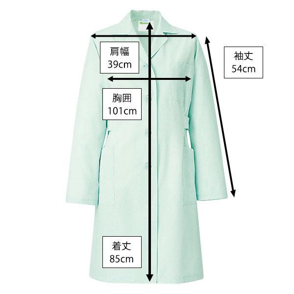 KAZEN レディス薬局衣(ハーフ丈) ドクターコート 医療白衣 長袖 ミントグリーン シングル M 261 (直送品)