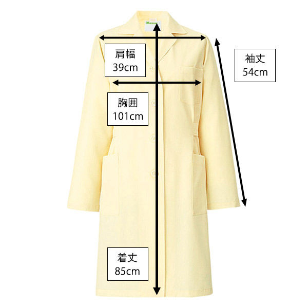 KAZEN レディス薬局衣(ハーフ丈) ドクターコート 医療白衣 長袖 クリーム シングル M 261 (直送品)