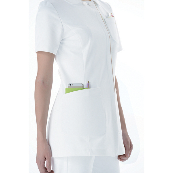 KAZEN レディスジャケット 医療白衣 半袖 ホワイトXラベンダー M 072-24 (直送品)
