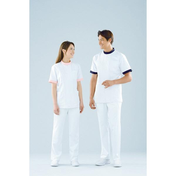 KAZEN ジャケット半袖男女兼用 247 ピンク 3L 白衣 1枚 (直送品)