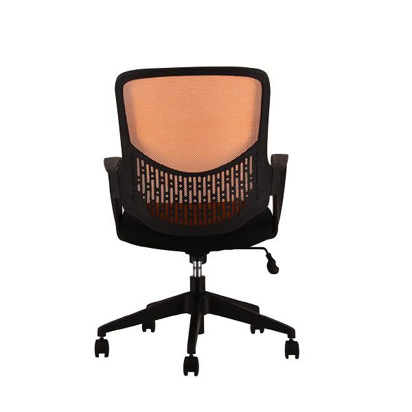 SEKI メッシュチェア オフィスチェア 肘付 オレンジ 1脚 (直送品)
