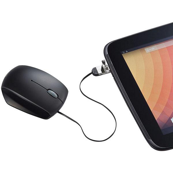 サンワサプライ 有線マウス ブラック microUSB変換コネクタ搭載/ケーブル巻き取り式/ブルーLED方式/3ボタン MA-BLMA10BK (直送品)