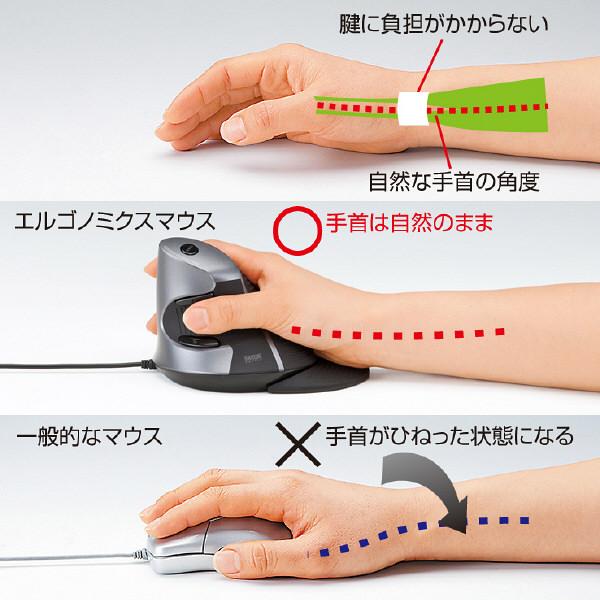サンワサプライ 有線マウス ブラック エルゴノミクス形状/リストレスト付/レーザー方式/5ボタン MA-ERG5 (直送品)