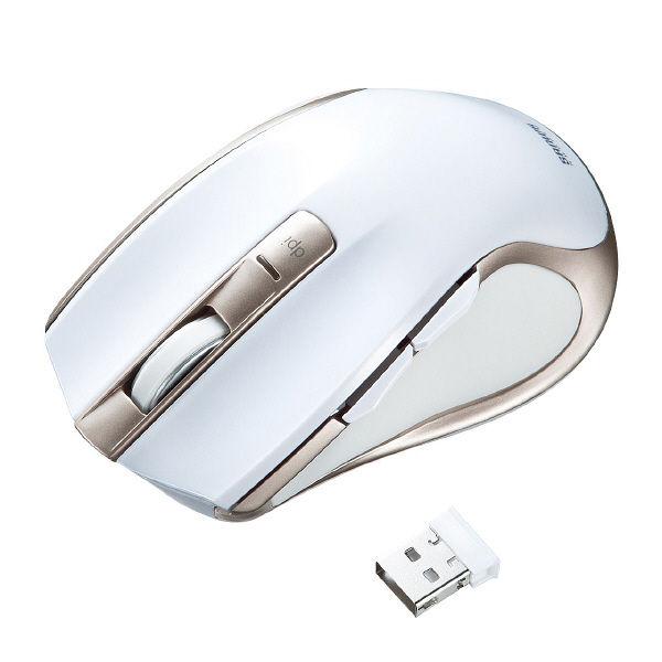 サンワサプライ 無線(ワイヤレス)マウス ホワイト ブルーLED方式/5ボタン MA-WBL38W (直送品)