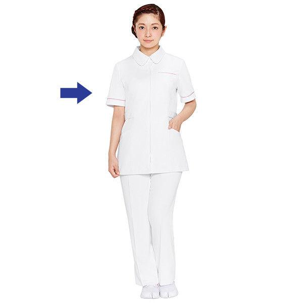 大真 透けない白衣 レディスジャケット 医療白衣 半袖 白銀(プラチナシルバー) 3L NJ200 (直送品)