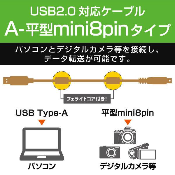 エレコム デジカメ用USBケーブル 平型8ピン フェライトコア 0.5m DGW-F8UF05BK (直送品)