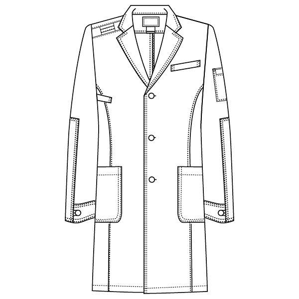 フォーク ディッキーズ 医療白衣 メンズシングルコート 1537PR ホワイト S 1枚 (直送品)