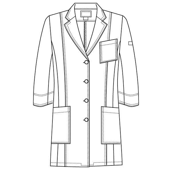 フォーク CHEROKEE(チェロキー) 医療白衣 レディスシングルコート CH450 ホワイト L 1枚 (直送品)