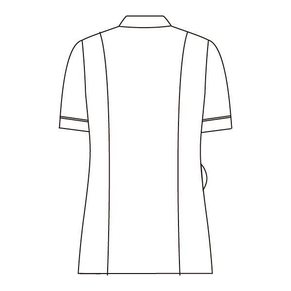 住商モンブラン ナースジャケット 医療白衣 レディス 半袖 白/シルバー LL 73-2216 (直送品)