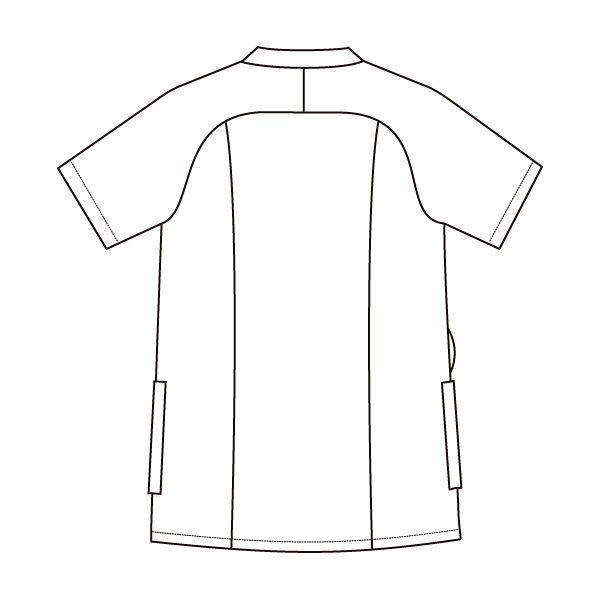 住商モンブラン レディスジャケット 医療白衣 半袖 コーラルレッド/ワイン L 73-2232 (直送品)