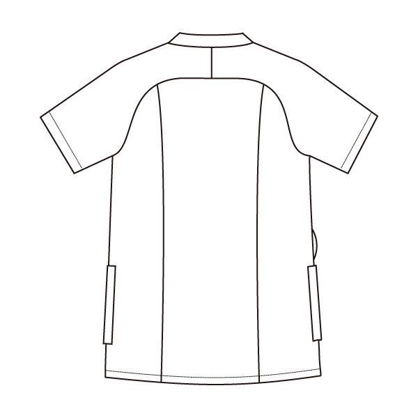 住商モンブラン レディスジャケット 医療白衣 半袖 ピーコックグリーン/チャコールグレイ LL 73-2234 (直送品)