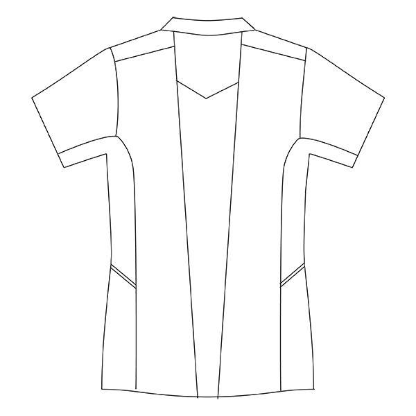 住商モンブラン レディスジャケット 医療白衣 半袖 ホワイト×ウォームブルー L CHM058-0104 (直送品)