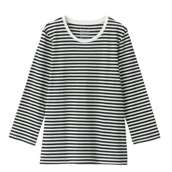 無印 天竺編み七分袖Tシャツ 婦人 M