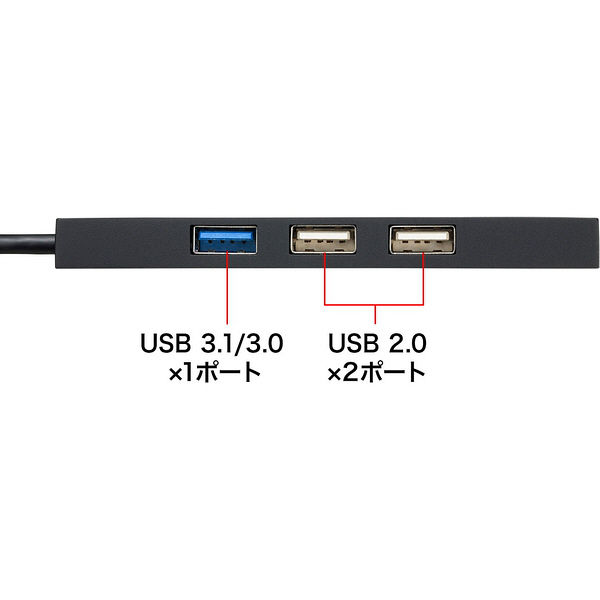 サンワサプライ USB Type Cコンボハブ カードリーダー付き USB-3TCHC16BK 1個(直送品)