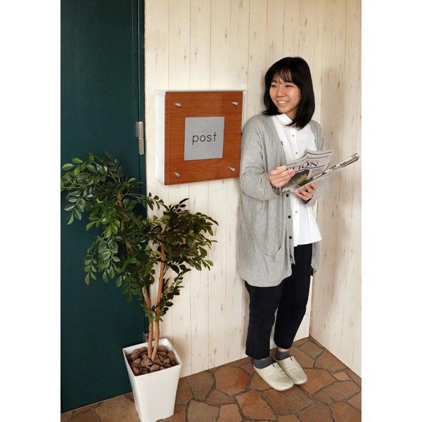 ヤマソロ Clein 壁掛けポスト 幅345×奥行130×高さ366mm ホワイト 73-081 1台(直送品)
