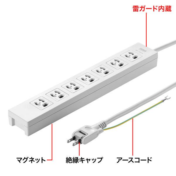 サンワサプライ 電源タップ 2P式(絶縁キャップ付きスイングプラグ) 7個口 3m TAP-F37-3SR 1個 (直送品)