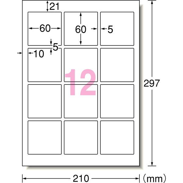 エーワン ラベルシール 超耐水 12面 62312 1袋(20シート入) (取寄品)