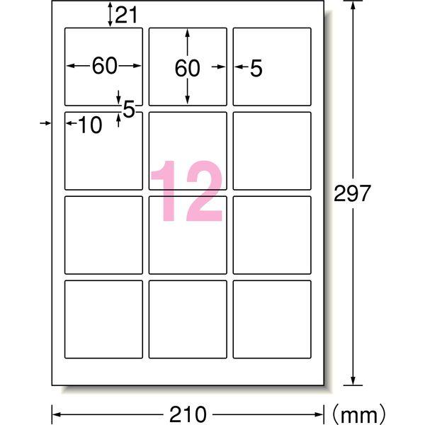 エーワン ラベルシール 超耐水 12面 64312 1袋(10シート入)(取寄品)