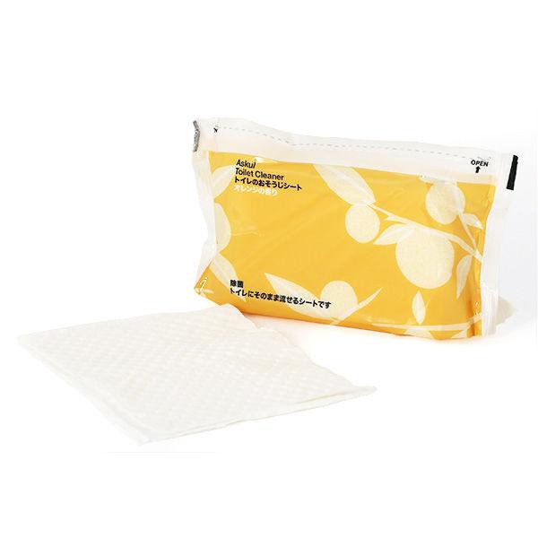 トイレのおそうじシート オレンジの香り ファスナー付き 1セット(2個) アスクル