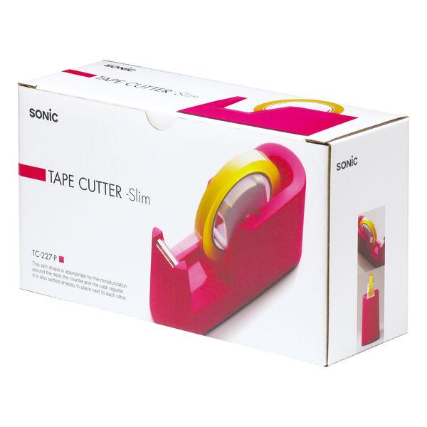 ソニック テープカッタースリム ピンク TC-227-P 1セット(3台:1台×3)