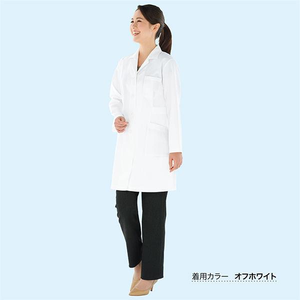 KAZEN 医療白衣 レディス薬局衣(ハーフ丈) シングル 長袖 261 サックス M ドクターコート 薬局衣