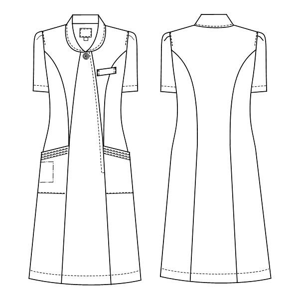 ナガイレーベン エレガントワンピース ナースワンピース 医療白衣 半袖 ホワイト M CA-1797 (取寄品)