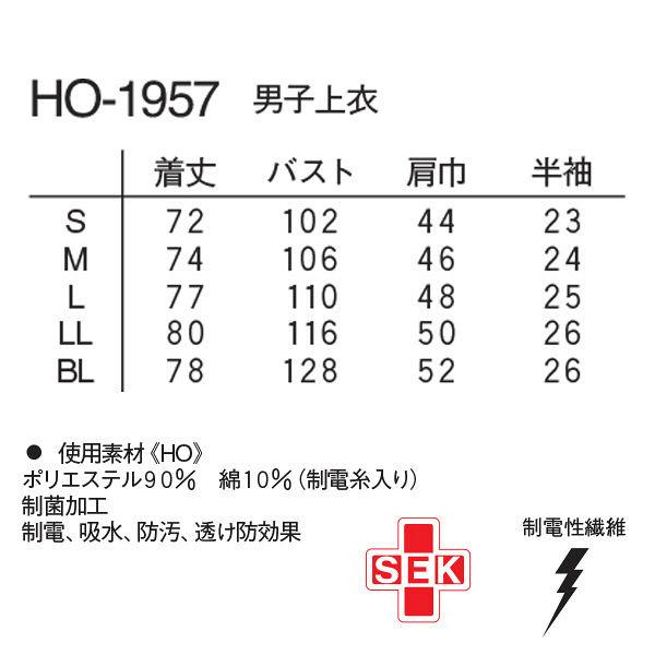ナガイレーベン 男子上衣(医務衣 ボタンダウンジャケット) HO-1957 ブルー BL (取寄品)