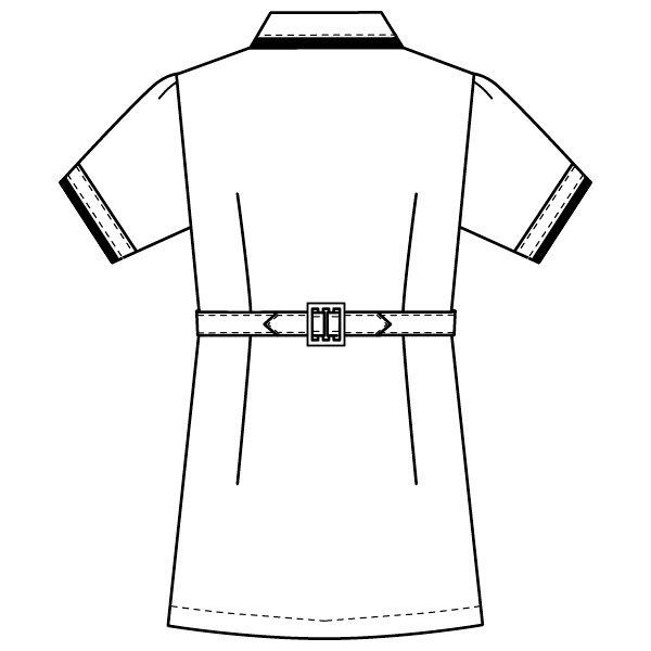 フォーク チュニック ホワイト×ネイビー EL 2005CR-1 (直送品)
