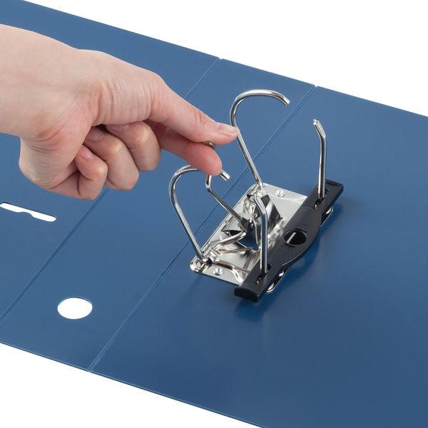 アスクル リングファイル A4タテ 2穴 レバー式アーチファイル 背幅66mm ブルー 青 10冊 ユーロスタイル