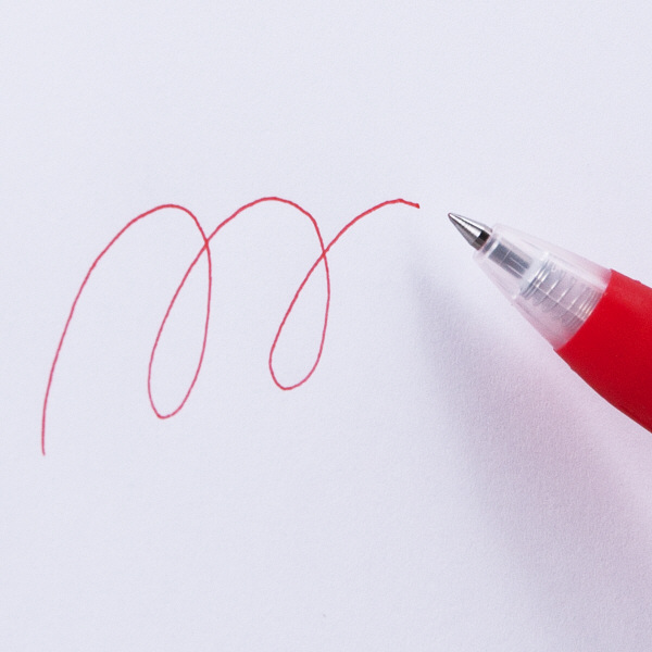アスクル ノック式ゲルインクボールペン 0.4mm 赤 10本