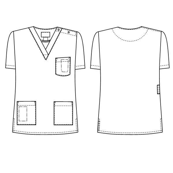 ナガイレーベン 白衣 レディススクラブ LBS-4337 ピンク EL 1枚 (取寄品)