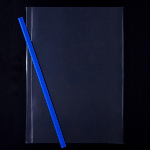 レール式クリアーホルダースリム A4タテ 10枚とじ 30冊 ブルー アスクル