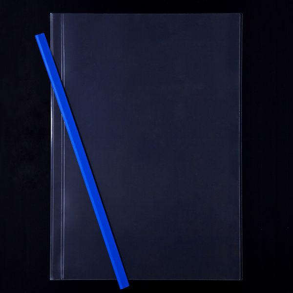 レール式クリアーホルダースリム A4タテ 10枚とじ 200冊 ブルー アスクル