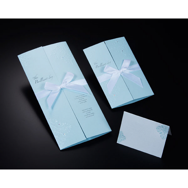 アスプルンド ウェディングカード 招待状10枚セット ブリリアントブルー 中紙:幅205mm、高さ155mm P95966
