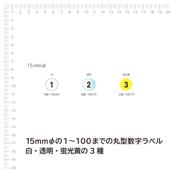 エーワン 数字ラベル 丸シール 1~100 整理・表示用 光沢コート紙 白 1片(15mmφ 丸型) 1袋(1~100各1片入) 08080(取寄品)