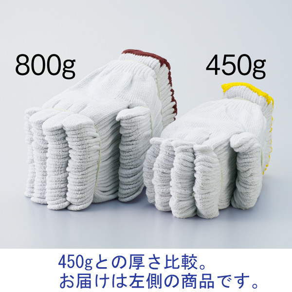 アスクル 「現場のチカラ」 徳用軍手7ゲージ 800g 3本編み ホワイト 1袋(12双入)