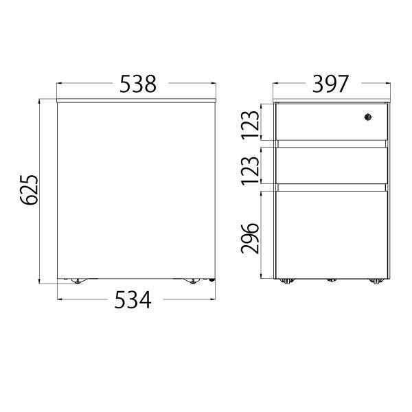 イトーキ(ITOKI) サリダLFデスク 3段ワゴン  ホワイト  幅397×奥行538×高さ625mm  1台