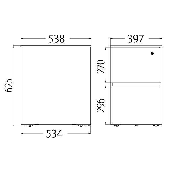 イトーキ(ITOKI) サリダLFデスク 2段ワゴン  ホワイト  幅397×奥行538×高さ625mm  1台