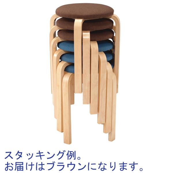 スマイル 木製ラウンドスツール クッション付き ブラウン 1箱(6脚入)
