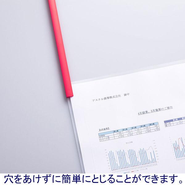 アスクル レール式クリアーホルダーA4タテ20枚とじレッド 93217 1セット(120冊)