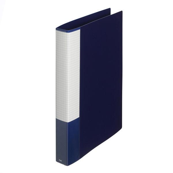 プラス 2リングファイル丸型2穴 A4タテ 背幅35mm 40冊 スーパーエコノミー ネイビー FC-101RF