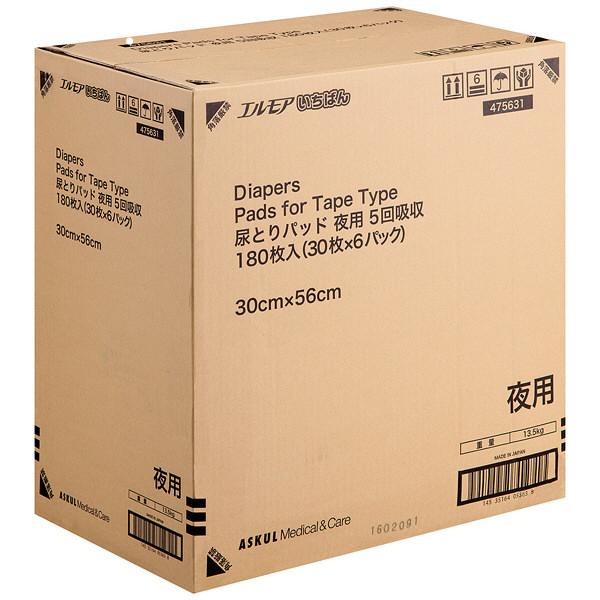アスクル エルモアいちばん 尿とりパッド 夜用 1箱(30枚×6パック入)