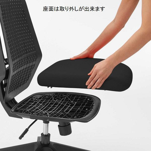 中央可鍛工業 スコルド(SKOLD) オフィスチェア ホワイト樹脂メッシュ 肘無し ブラック YC-210W-BK 1脚 (取寄品)
